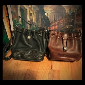 Lot of 2 Brighton Leather Crossbody Bucket Bags.